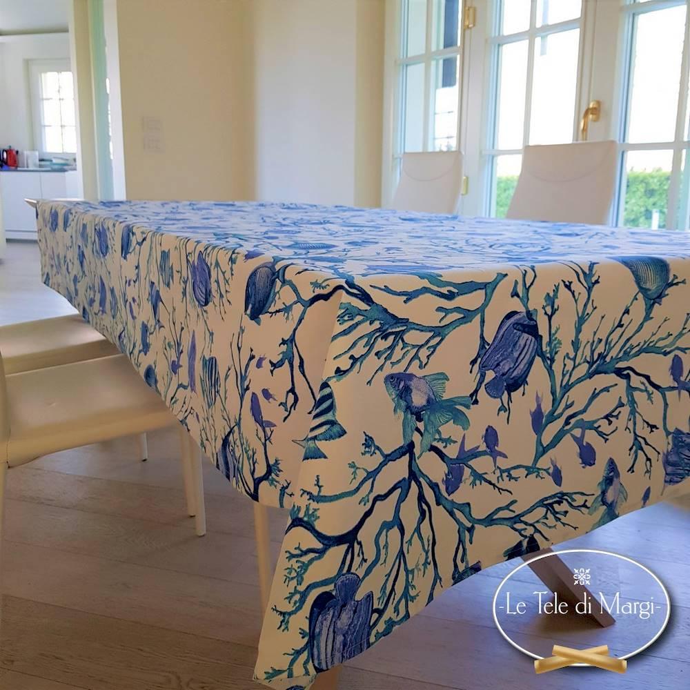 Tovaglia Caraibi blu resinata 140 x 140