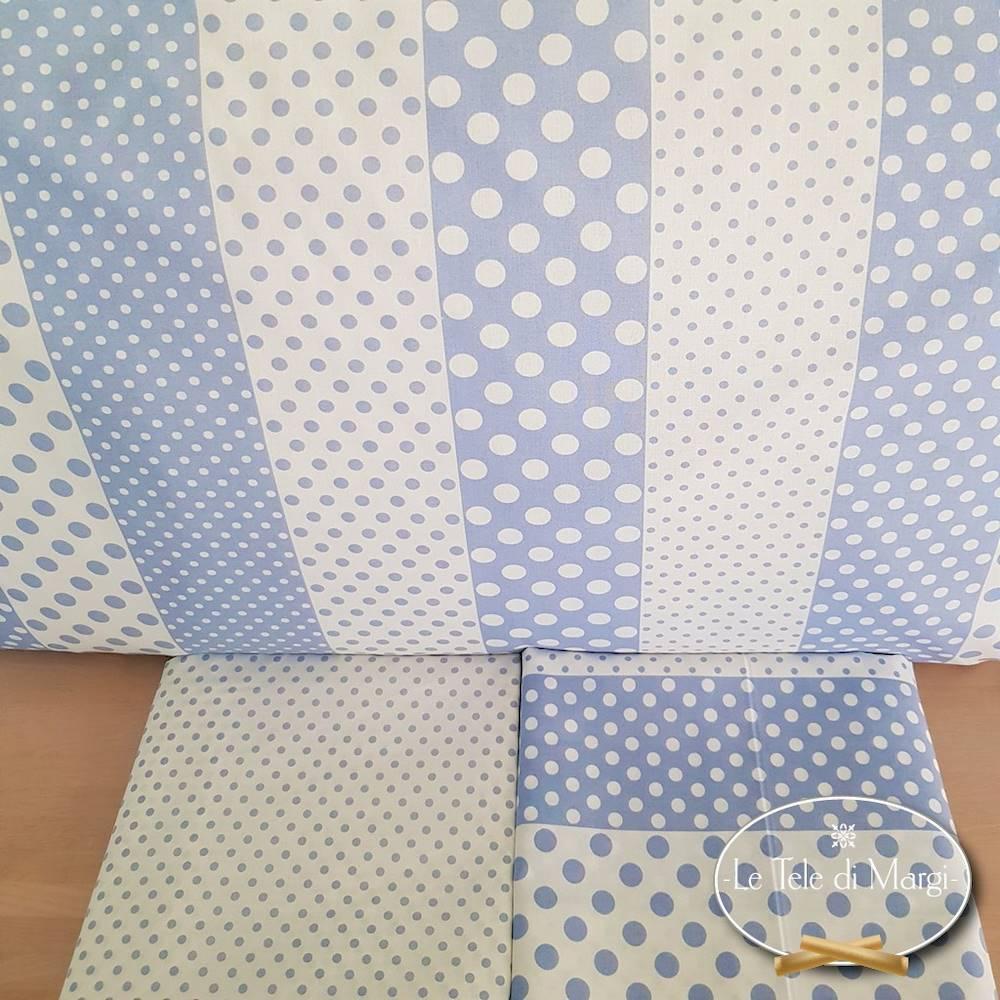 Completo Lenzuola Pois e rigoni azzurro piazza e mezzo