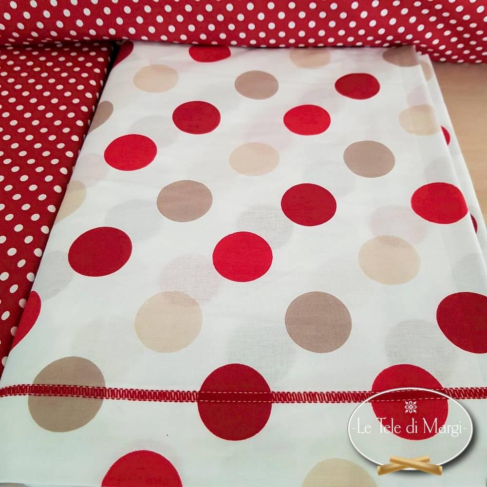 Completo Lenzuola Pois rosso piazza e mezzo