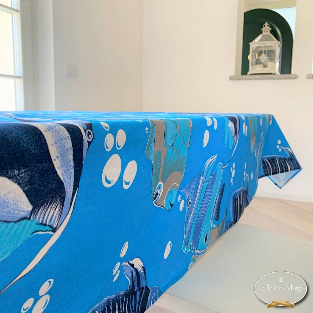 Tovaglia pesci boreali blu 140 X 180