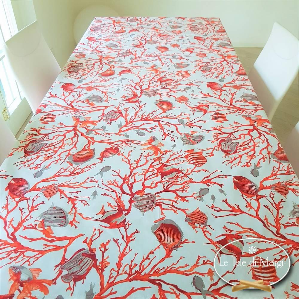 Tovaglia Caraibi corallo 140 x 300