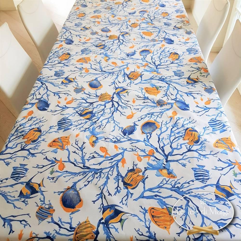 Tovaglia Caraibi blu e gialla 140 x 240