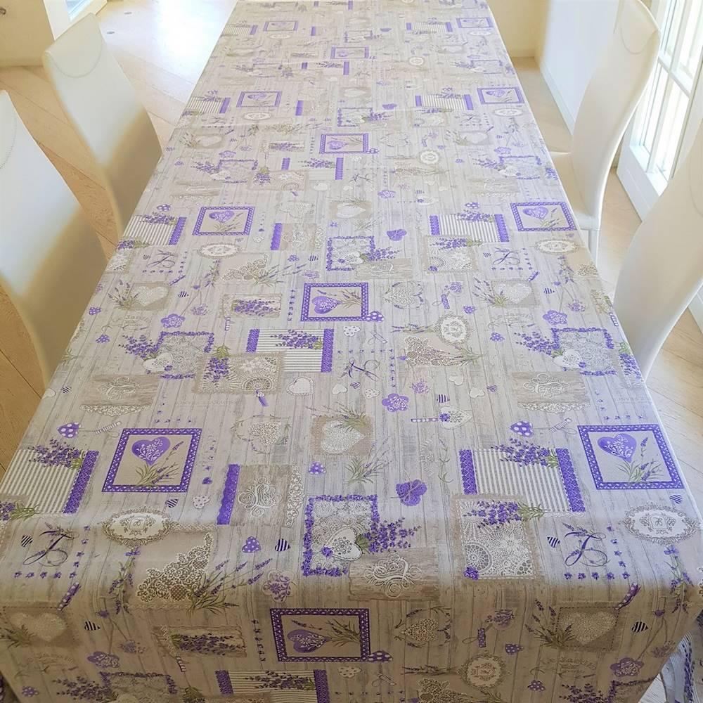 Tovaglia Lavanda grigia patchwork 140 x 240