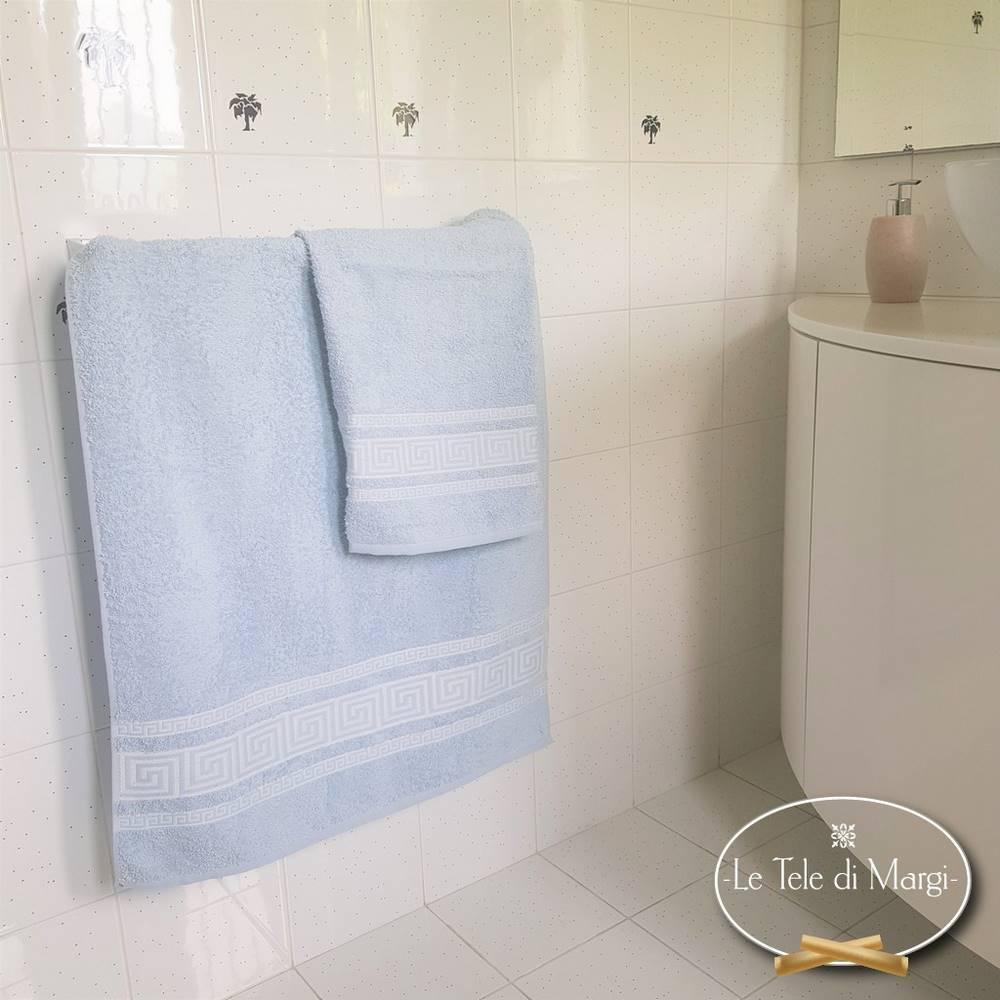 Coppia asciugamani Greca azzurro