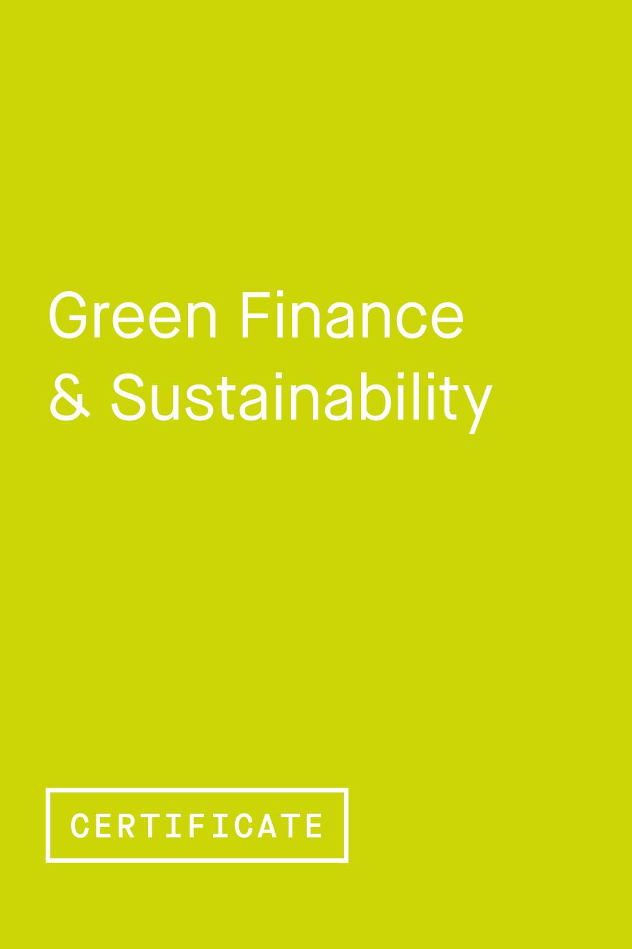 Green Finance & Sustainability