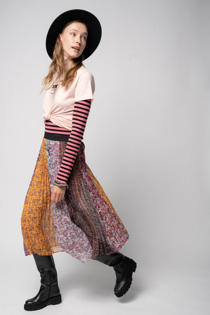 SHOPPING ON LINE PINKO GONNA MIDI PLISSE STAMPATA ABBEVILLE NEW COLLECTION PREVIEW FALL WINTER 2022