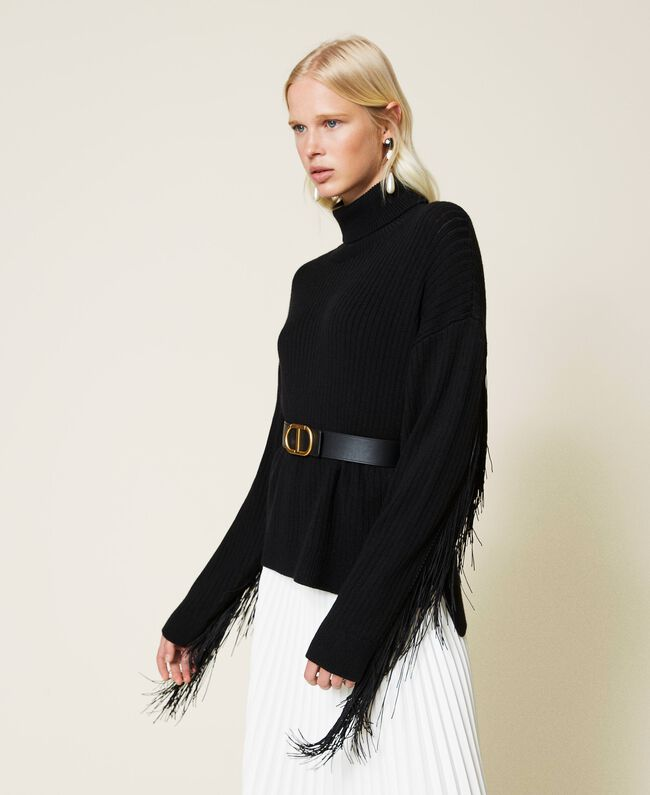 SHOPPING ON LINE TWINSET MILANO MAGLIA DOLCEVITA IN MISTO LANA CON FRANGE  NEW COLLECTION PREVIEW FALL WINTER 2022