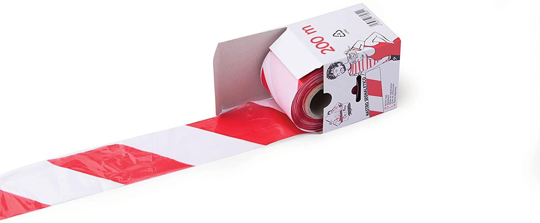 Nastro Segnaletico Rosso/Bianco 7cm X 200m