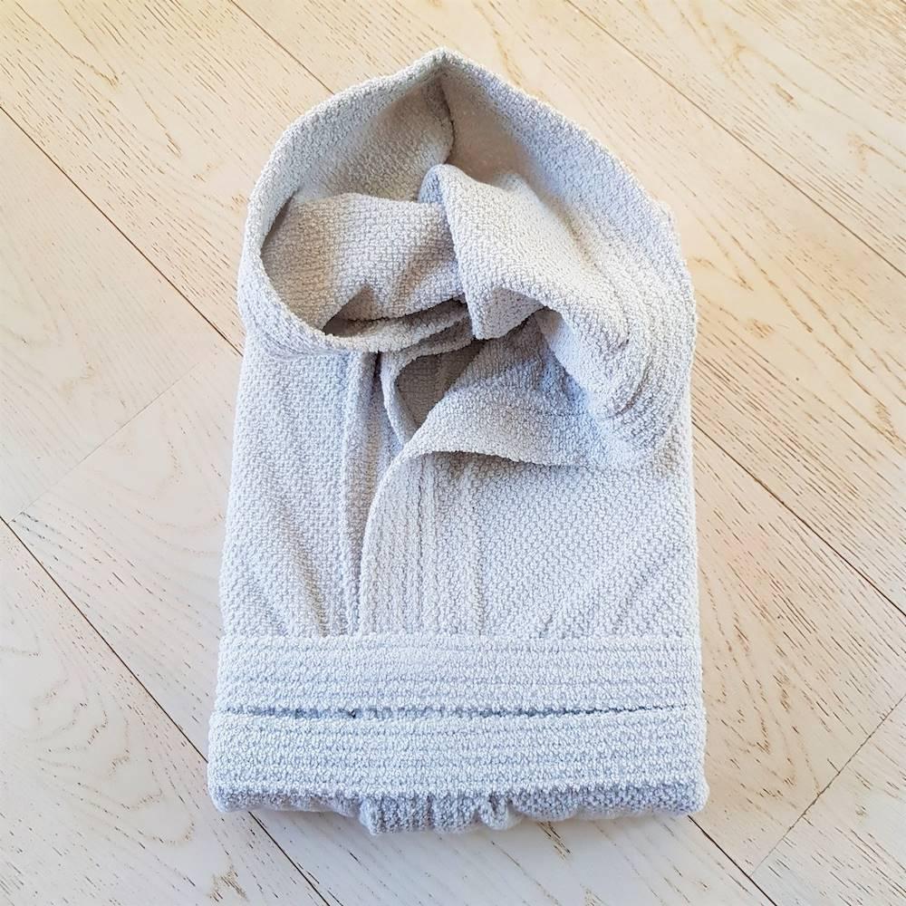 Accappatoio con cappuccio chicco di riso grigio