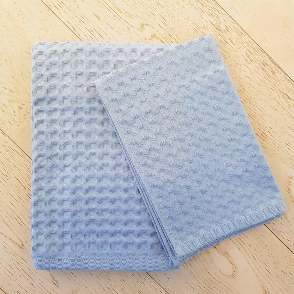 Coppia asciugamani nido d' ape azzurro