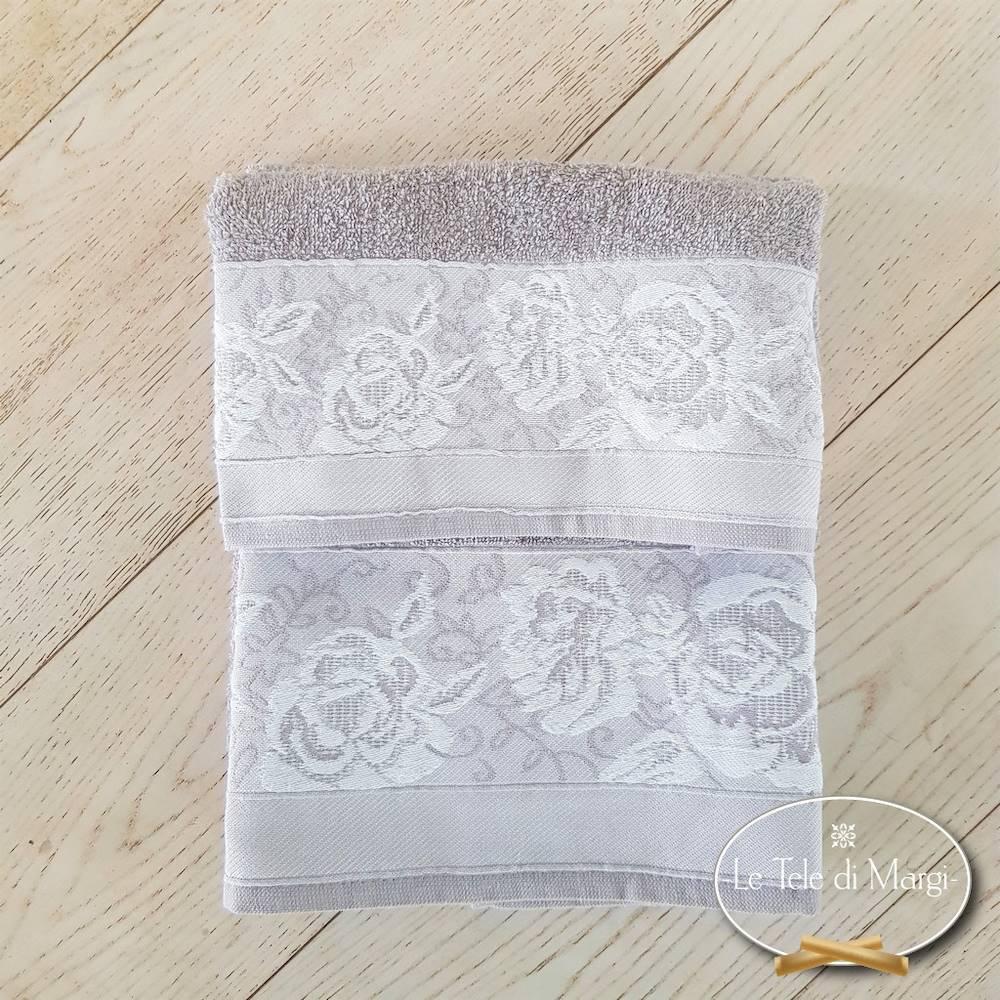 Telo doccia jacquard Rose grigio