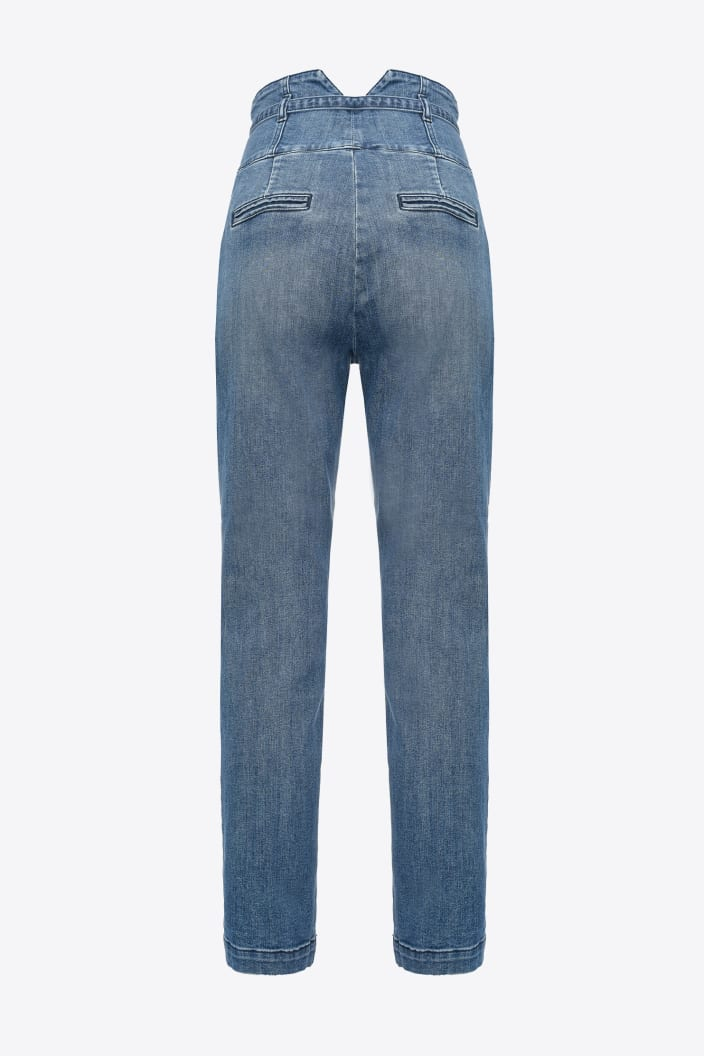 SHOPPING ON LINE PINKO JEANS BUSTIER IN DENIM BLUE STRETCH AURIEL 17 NEW COLLECTION WOMEN'S FALL/WINTER 2022