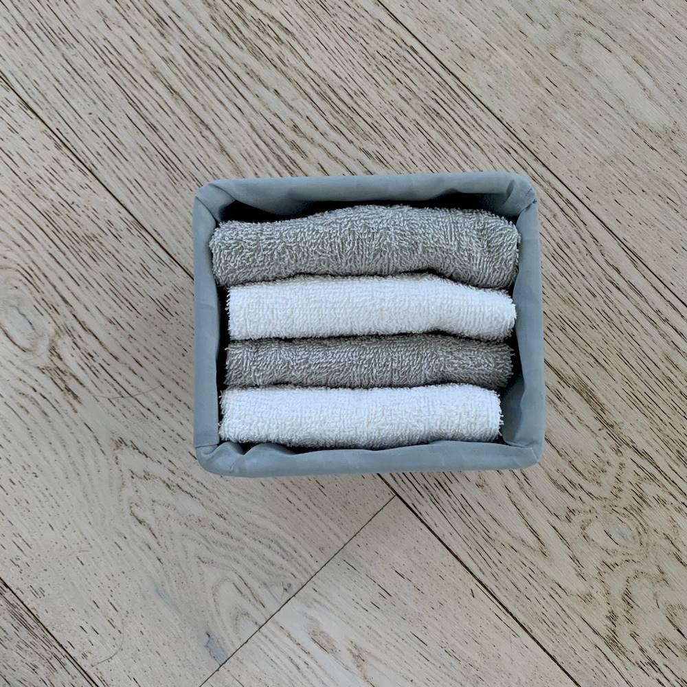 Set 4 lavette bicolor grigio e bianco