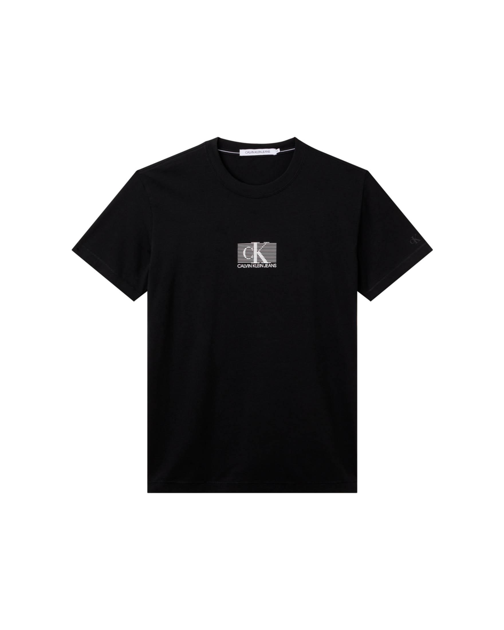 """""""T-shirt nera mezza manica in cotone stretch con monogramma CK e righe sul petto"""""""