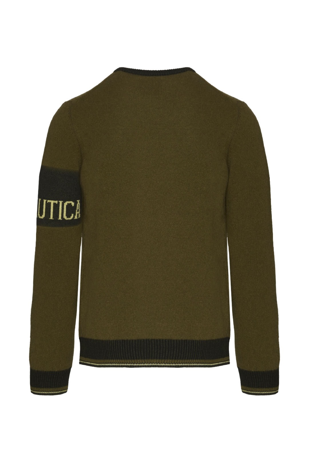 Crew neck sweater with contrasting band  2