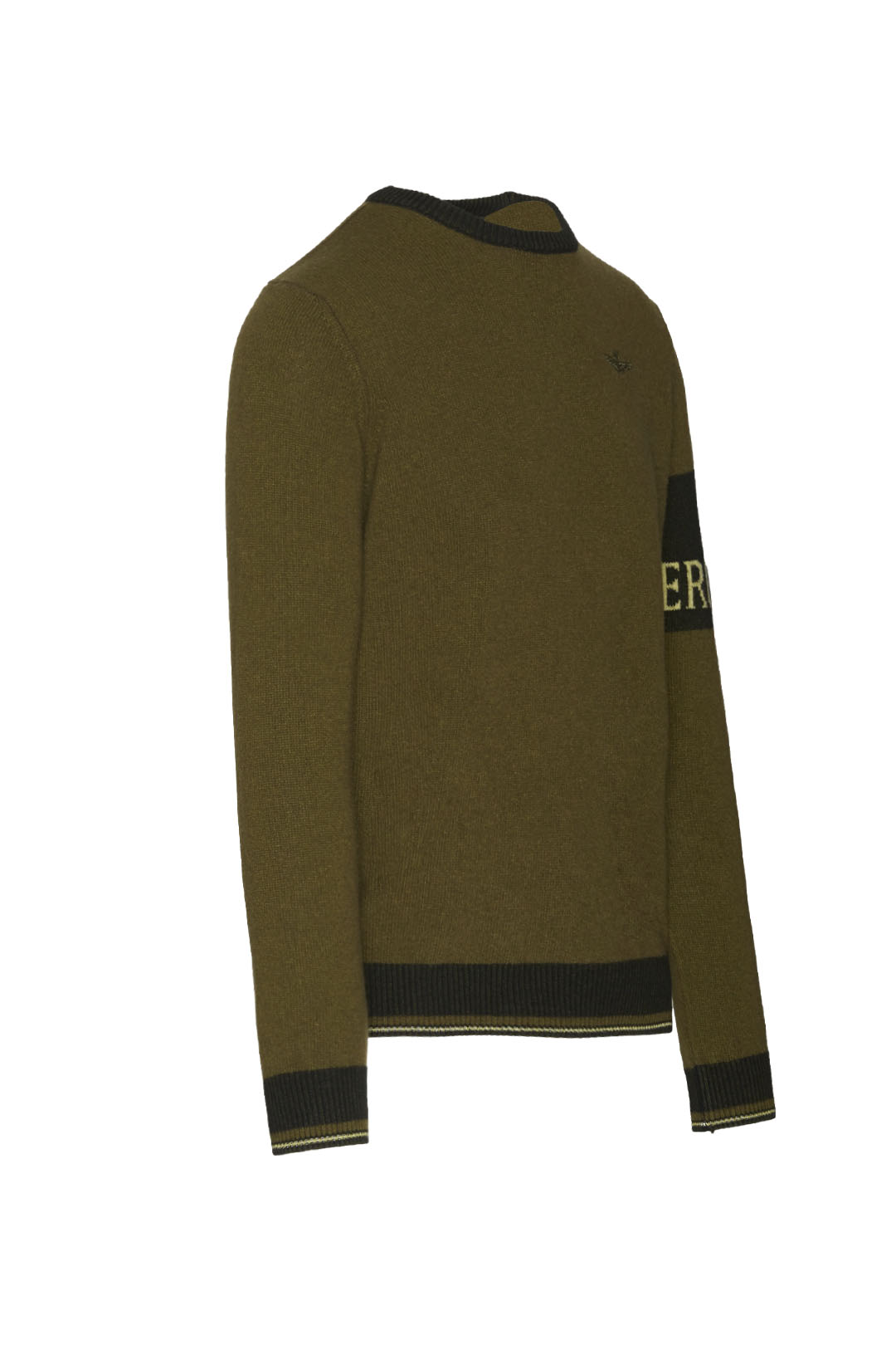 Crew neck sweater with contrasting band  3