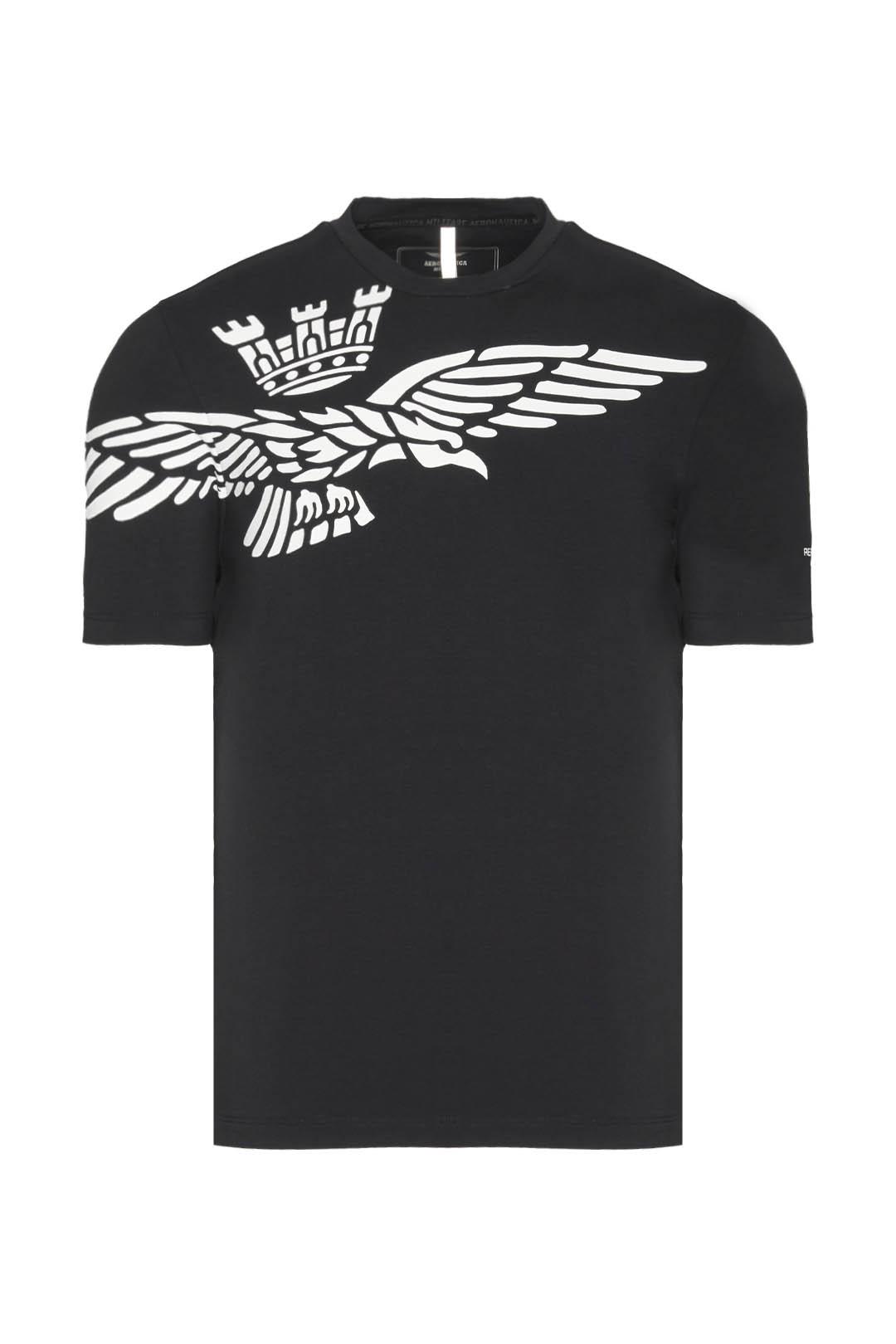 T-Shirt mit Adler Kontrastdruck          1
