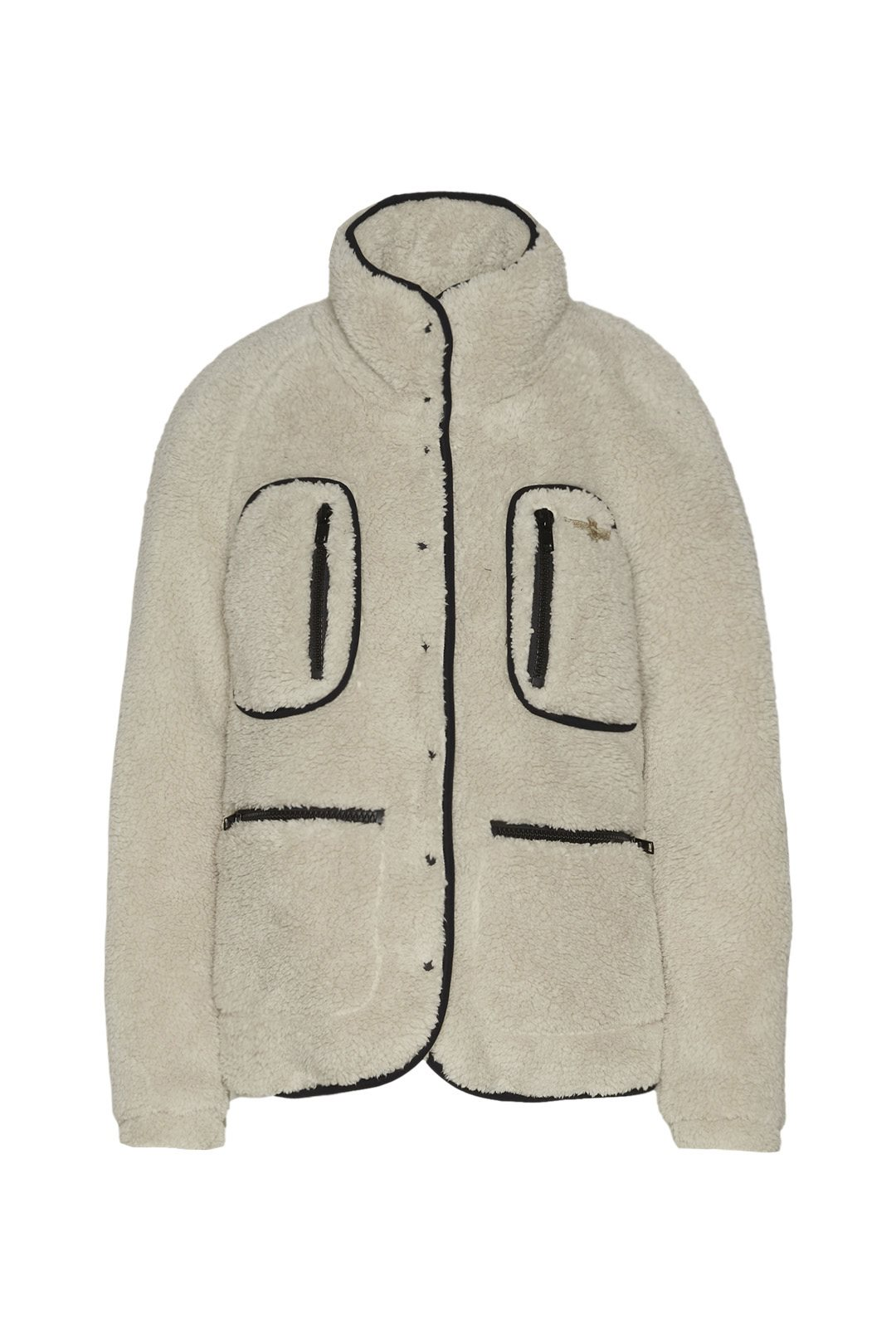 Faux fur jacket with high neck