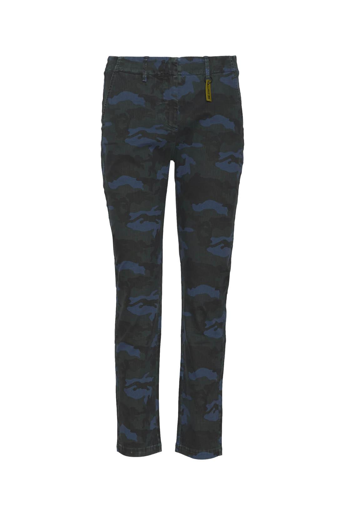 Camouflage gabardine chino trousers