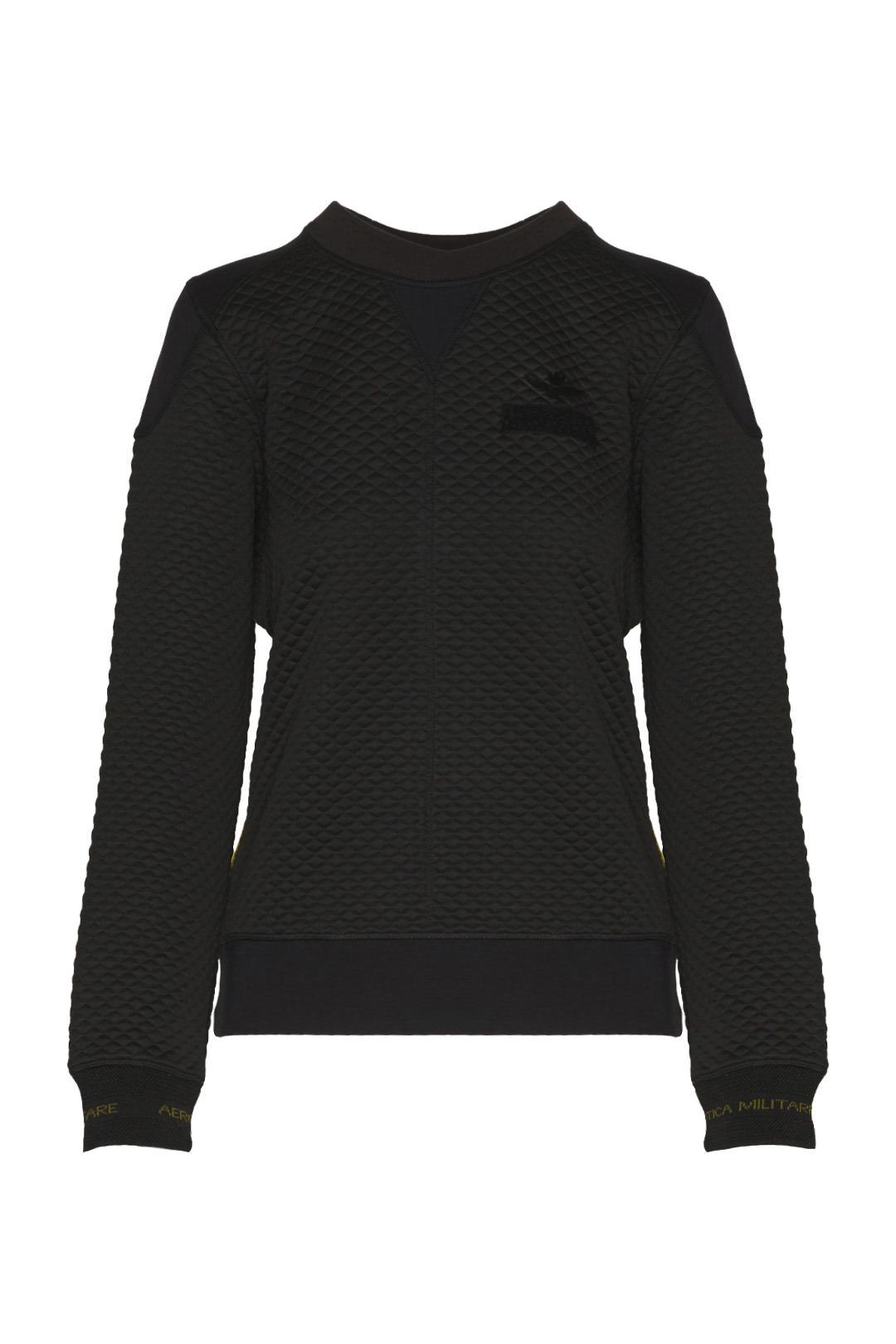 Quilted round neck sweatshirt