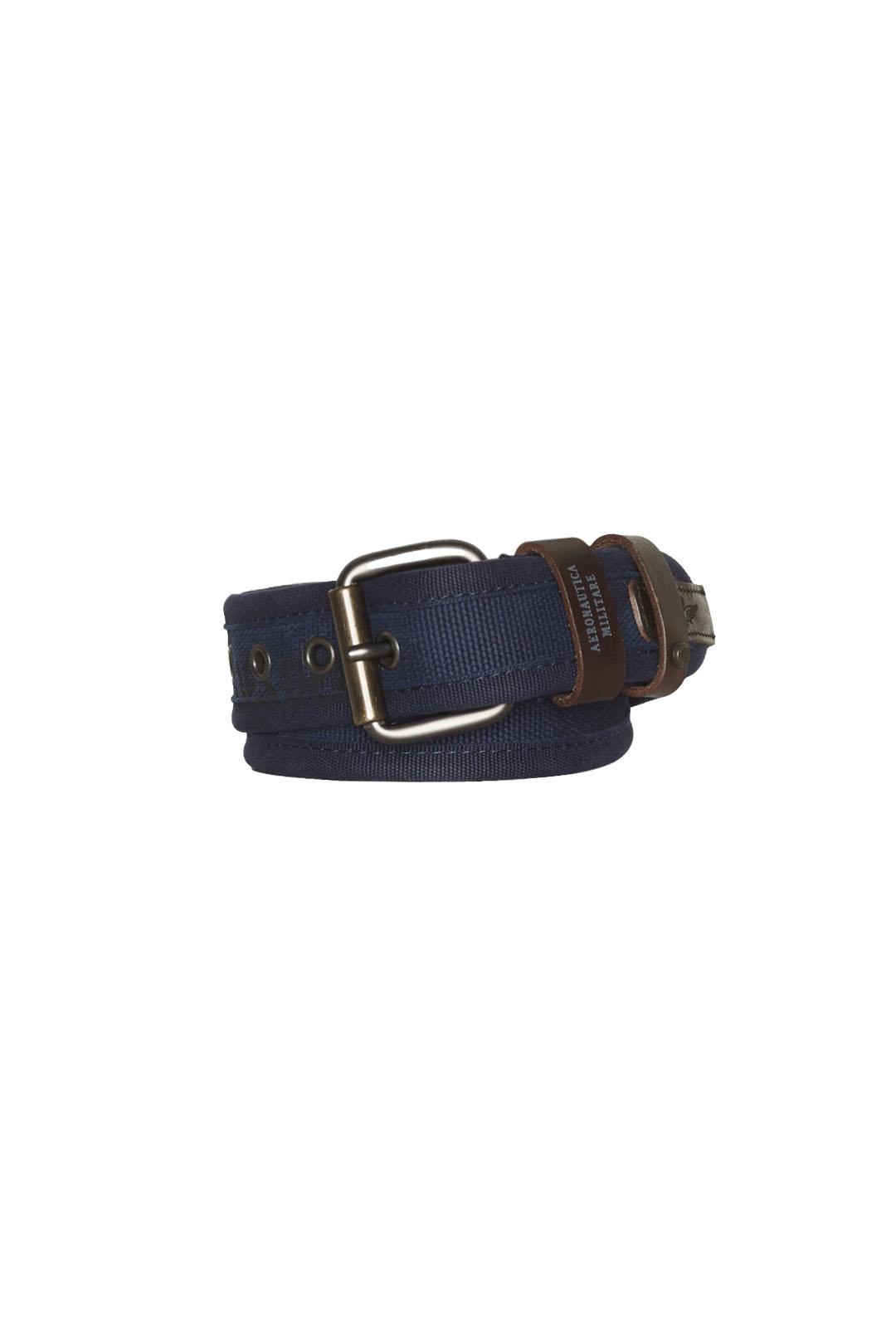 Cintura in cotone con finiture in pelle  1