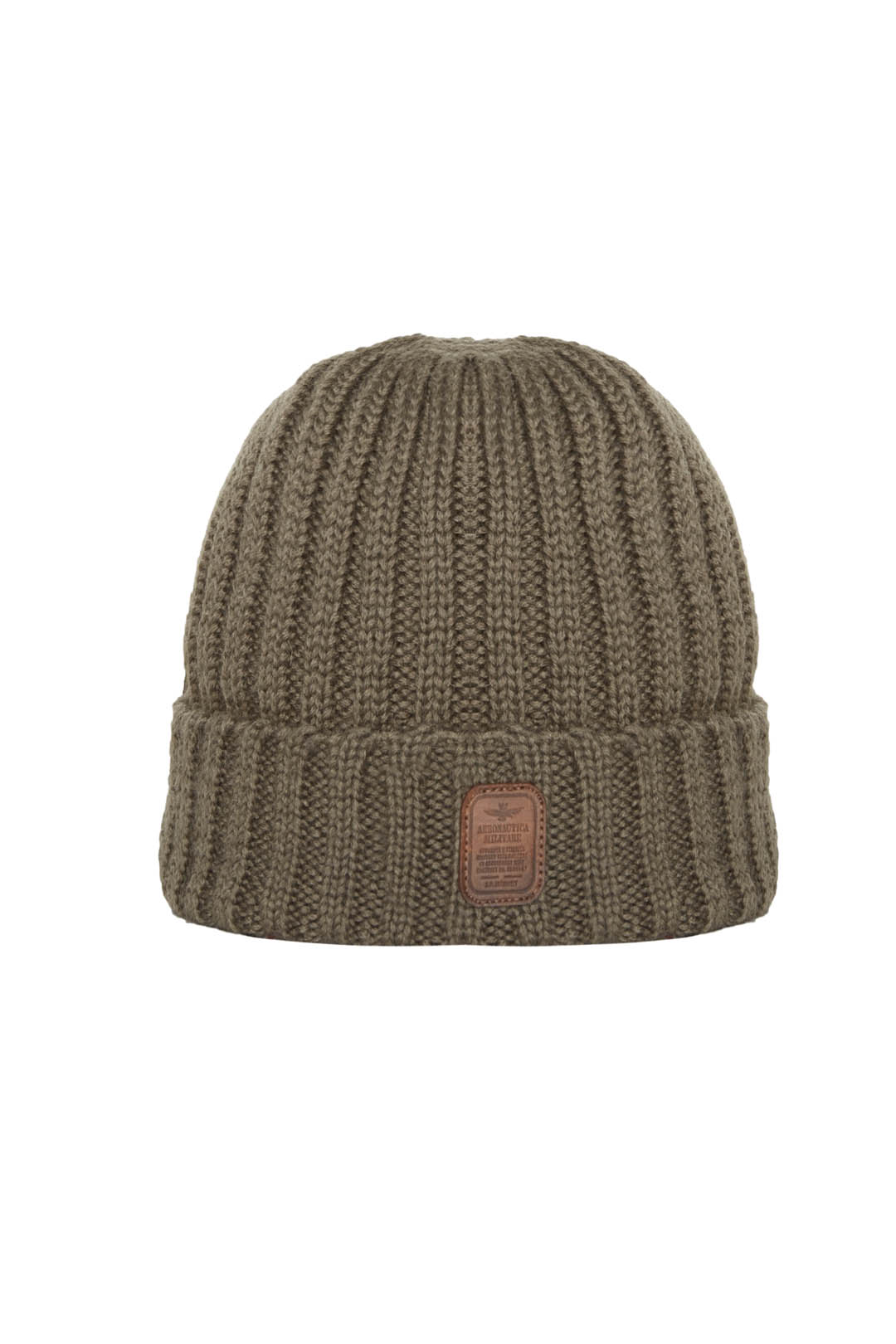 Wool knit cap with leather patch         1