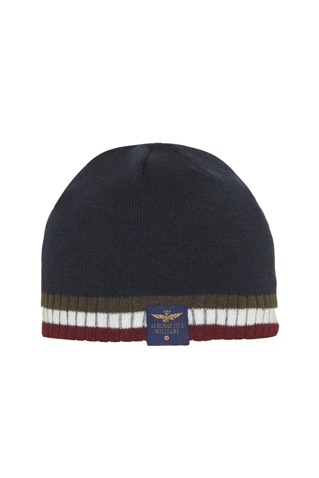 Tricolour embroidery knit cap            1