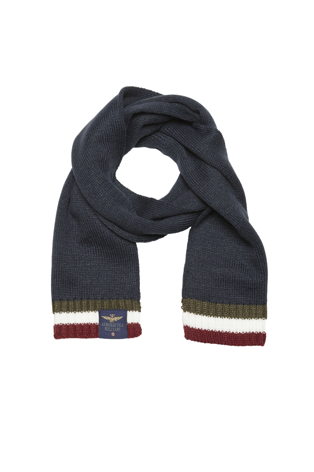 Knitted scarf with tricolor ends         1