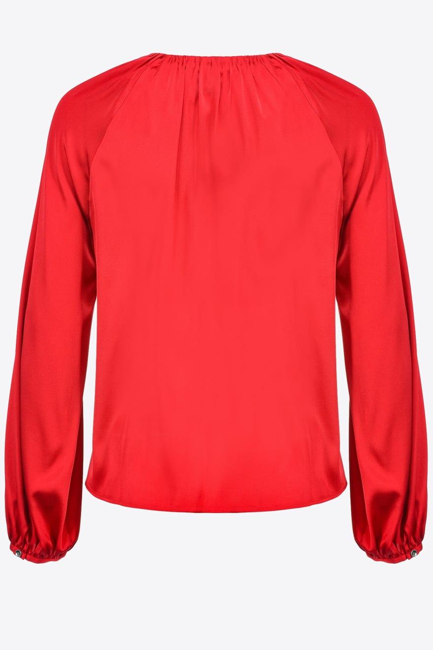 Blusa Famatina a maniche lunghe in satin rosso Pinko