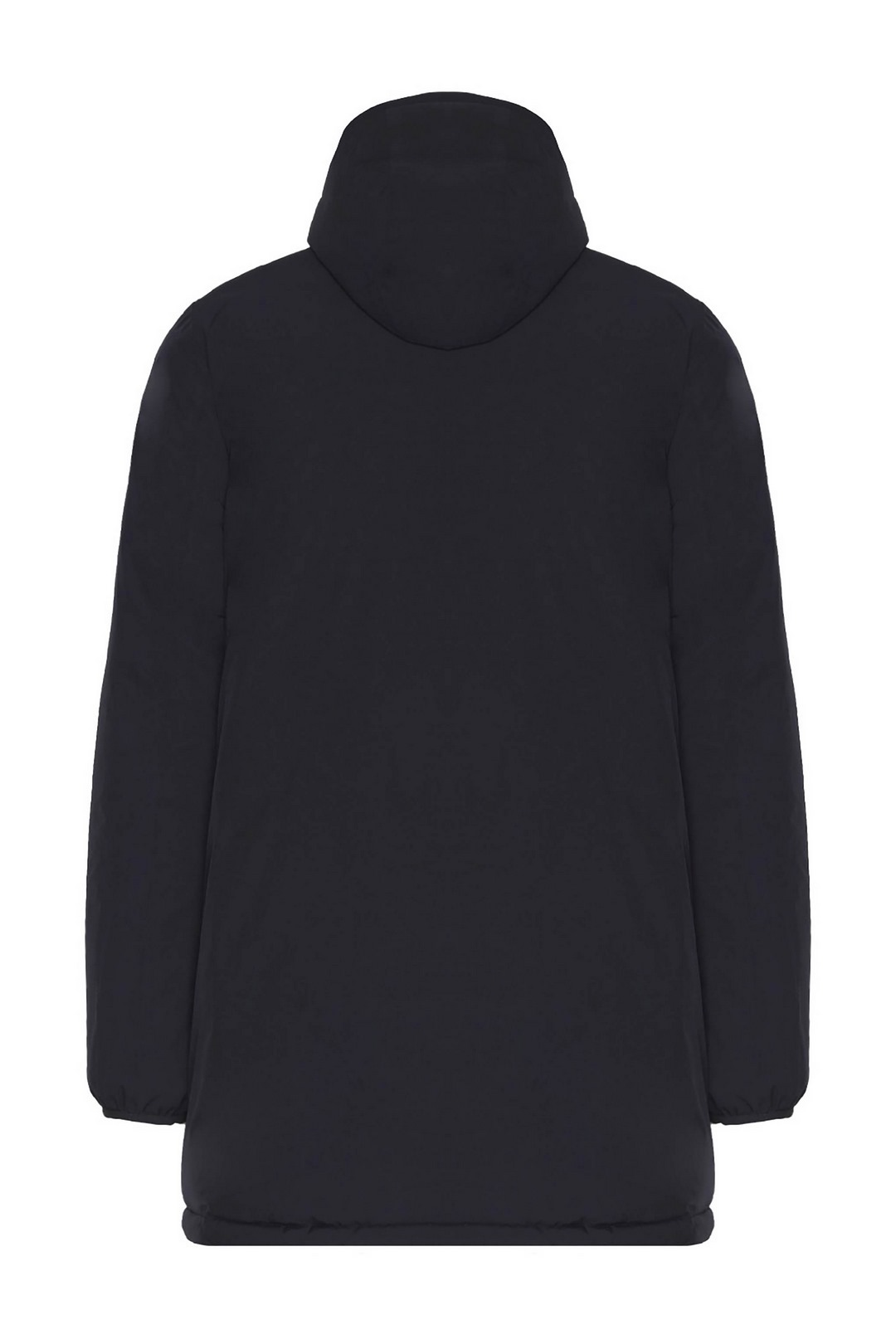 Reversible long down jacket with hood    2