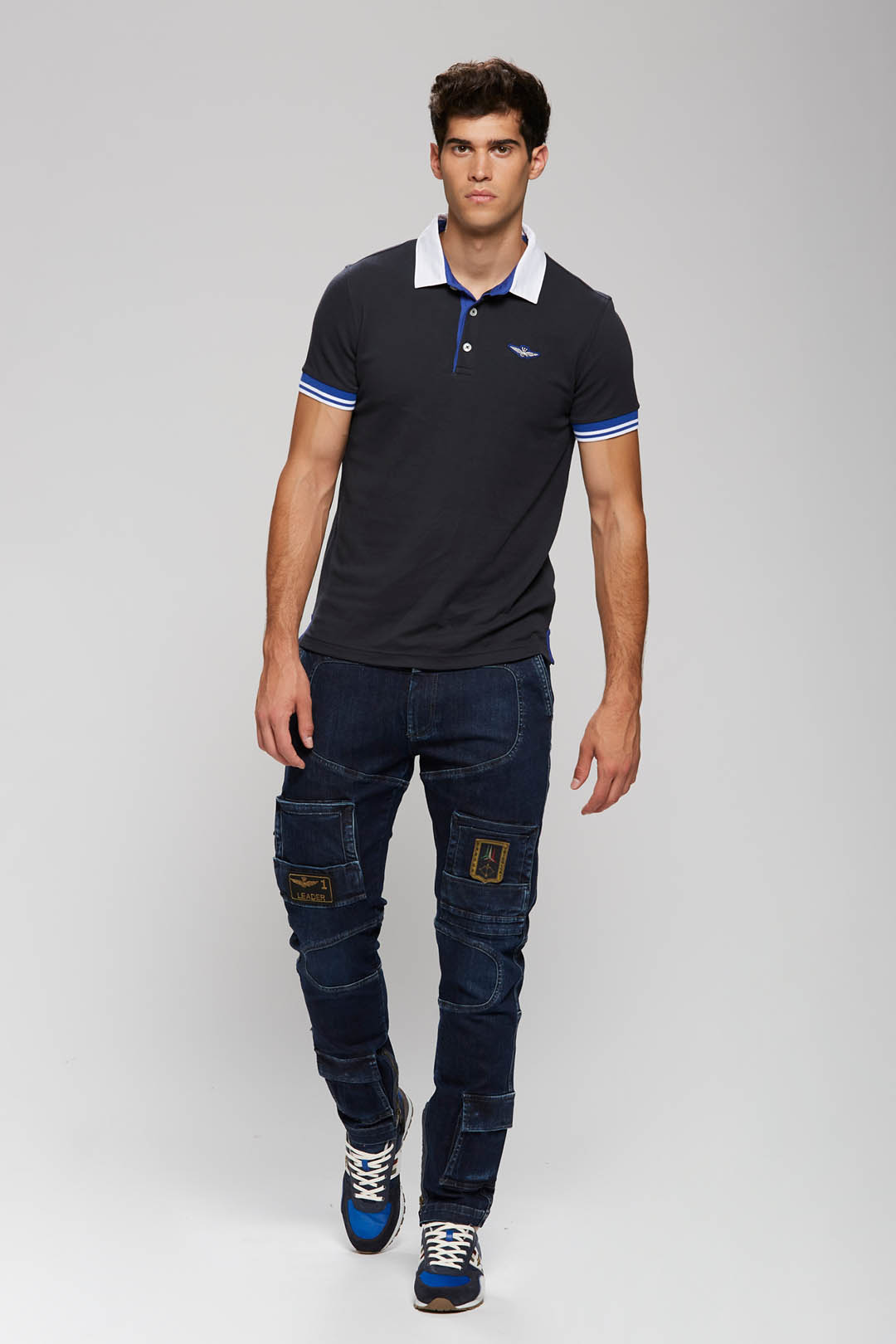 Polo shirt with twill collar             4