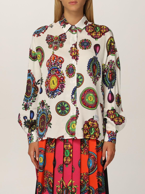 Camicia bianca con stampa colorata di Versace Jeans Couture