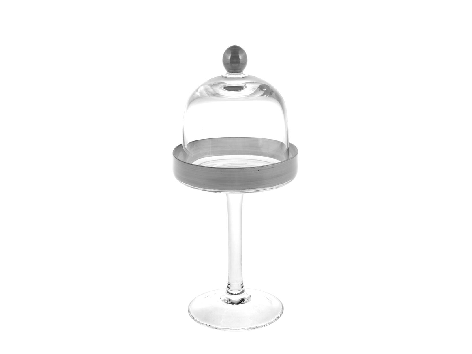 H&h Alzata Vetro Con Cupola Grey Cm12 H26