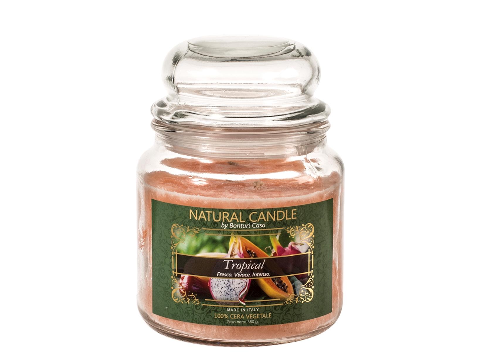 Nature Candle Candela Profumata Tropical, 100% Cera Vegetale, 380 G
