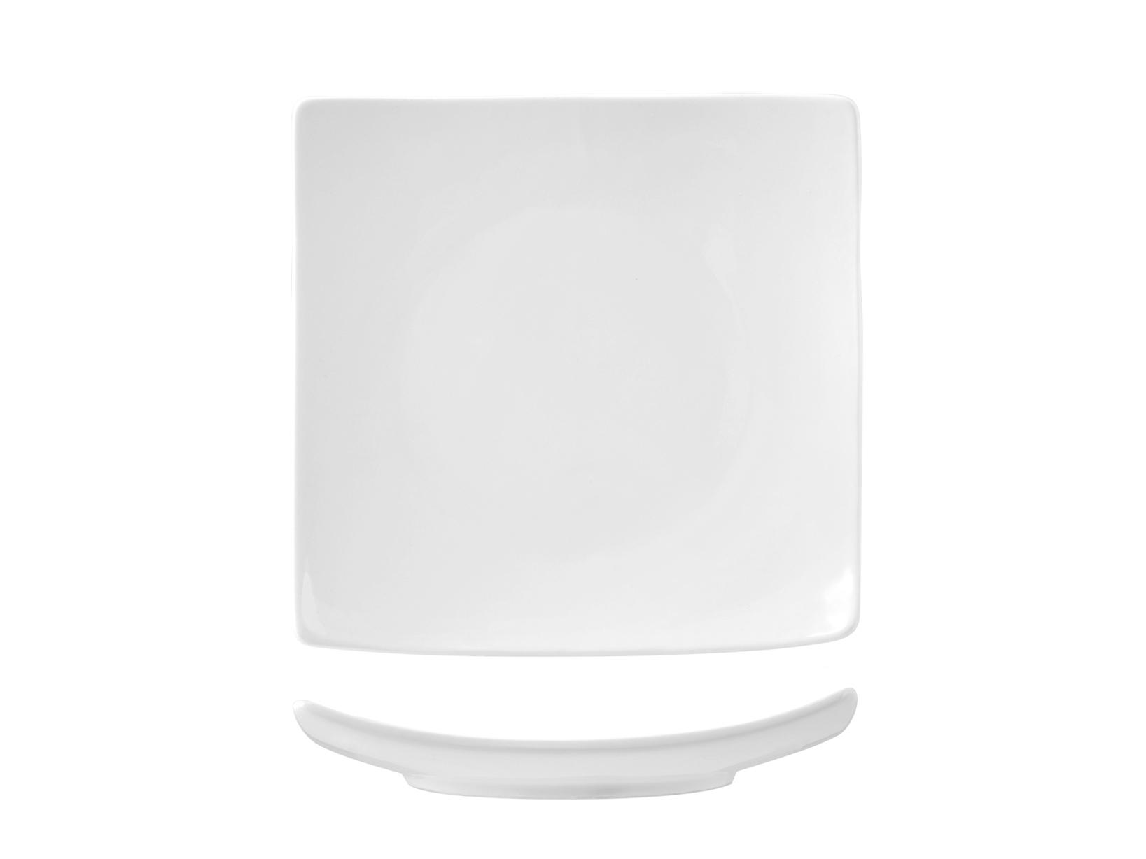 Piatto In Porcellana Bianco Quadro Coupe 20 A6194
