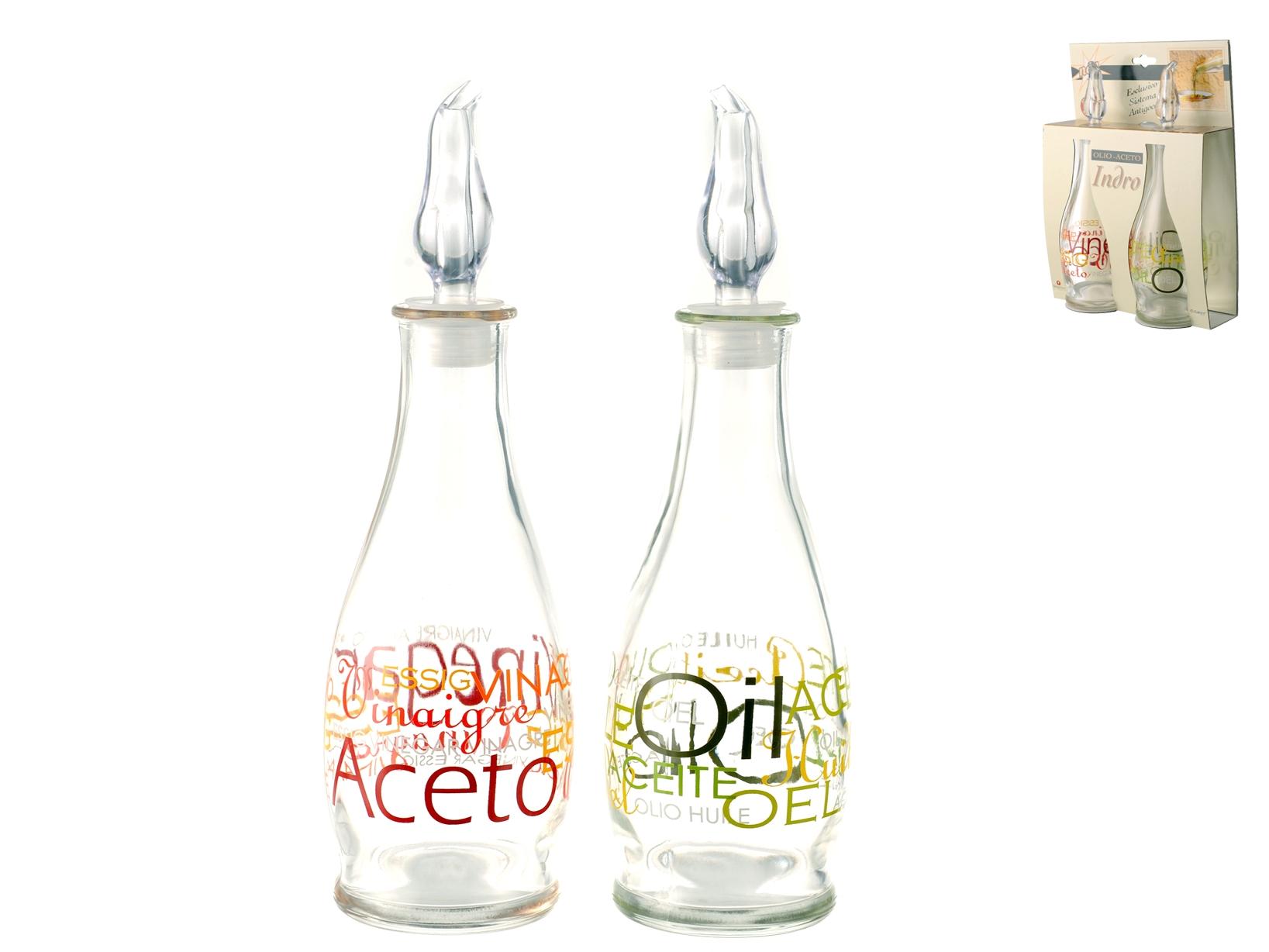 Set Olio-aceto In Vetro Decoro Mix
