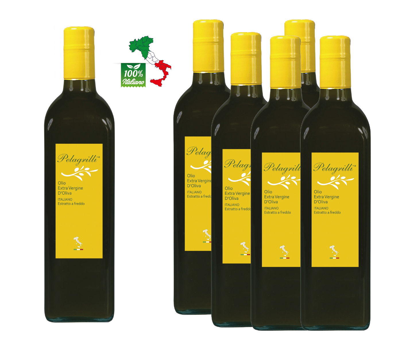 100% ITALIANO Raccolto 2021-2022- Olio extravergine di oliva - confezione da 6 bottiglie da LT 0,75 ciascuna - estratto a freddo - FILTRATO