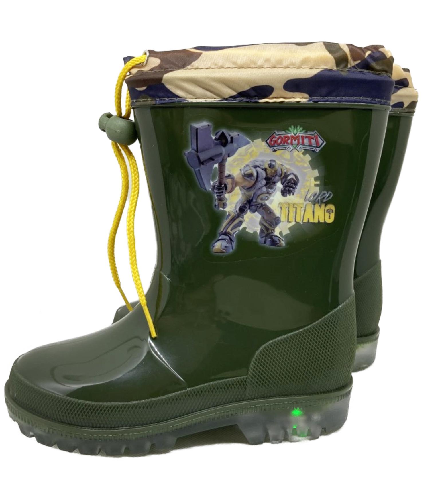 Stivali pioggia Gormiti con luci numero dal 25 al 32 colore verde mimetico