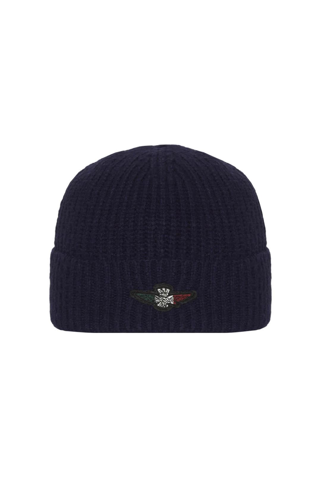 Knit cap with tricolor eagle patch       1