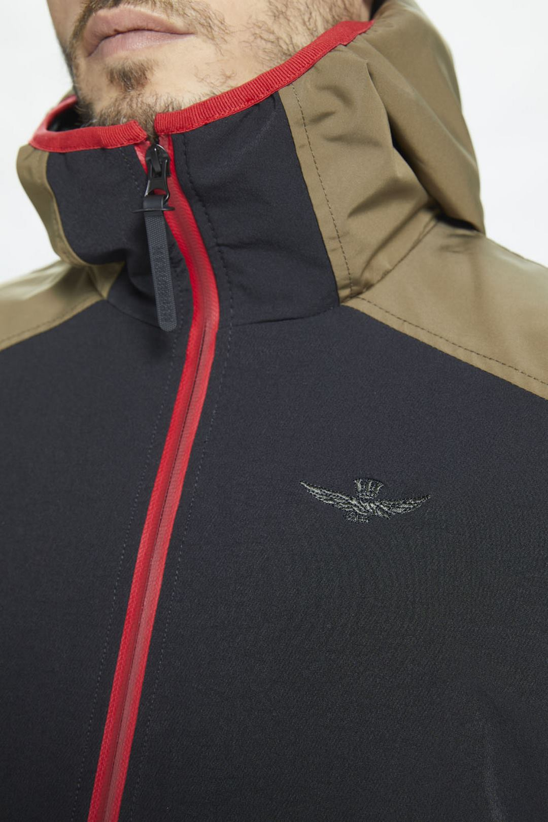 Technical stretch jacket with hood       6