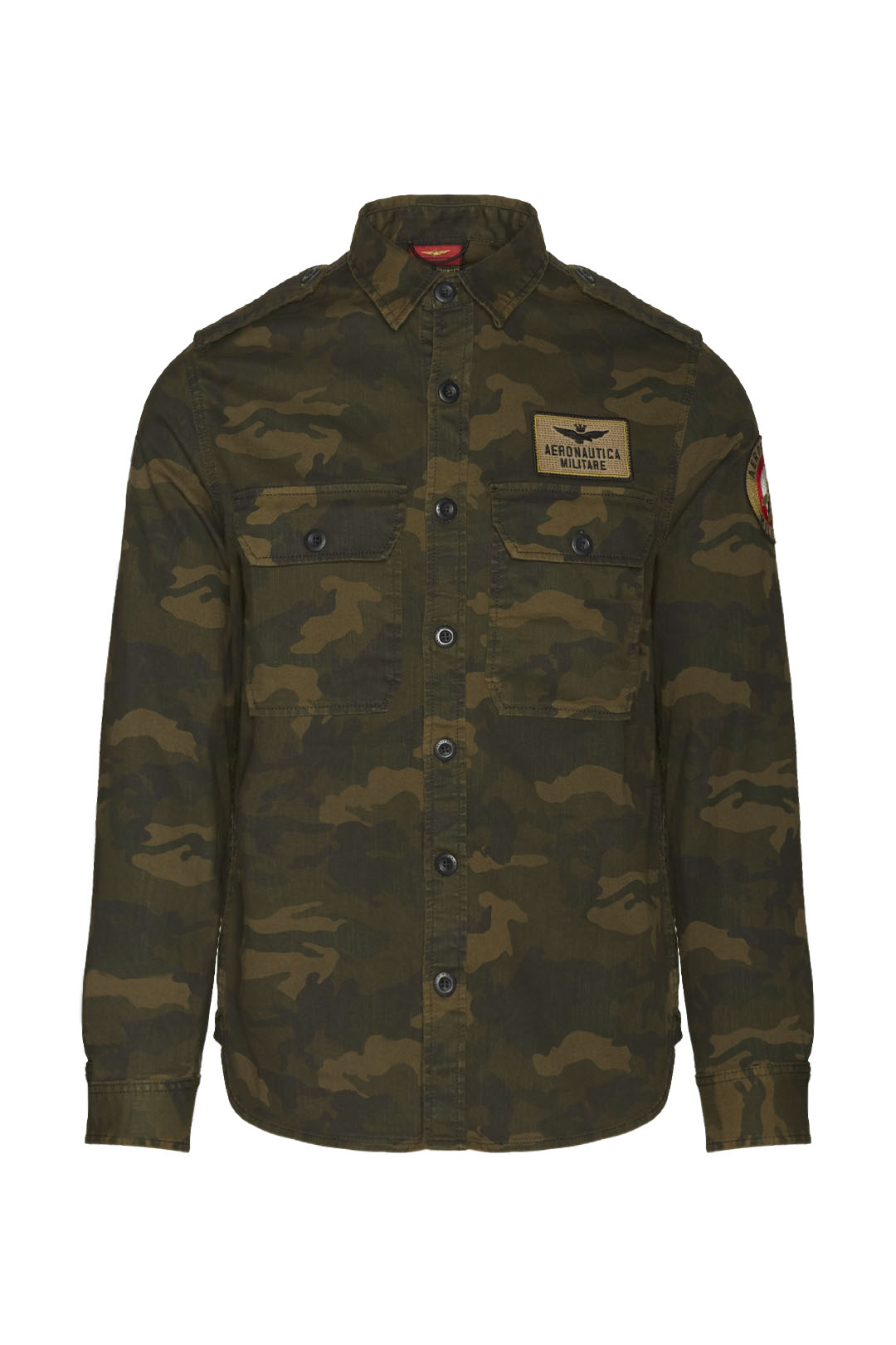 Camouflage military-style cotton shirt