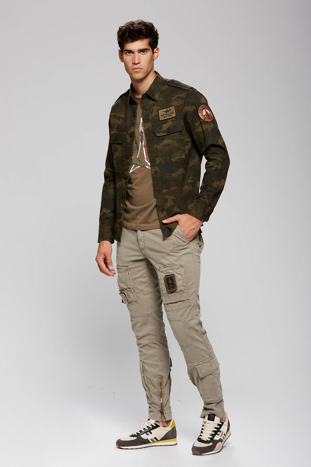 Camouflage military-style cotton shirt   4