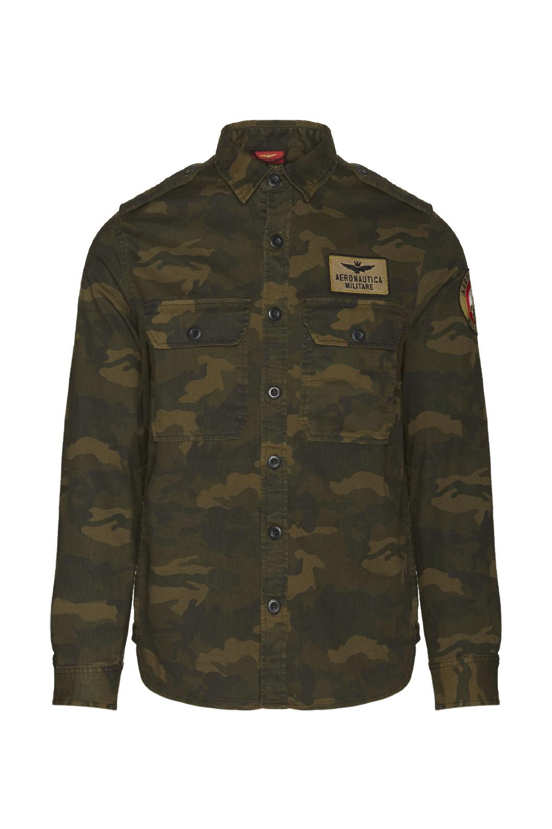 Chemise en coton motif camouflage