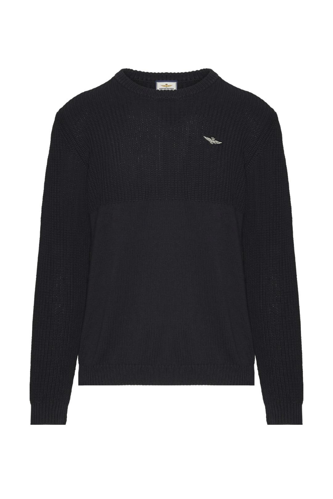 Two fabrics round neck sweater