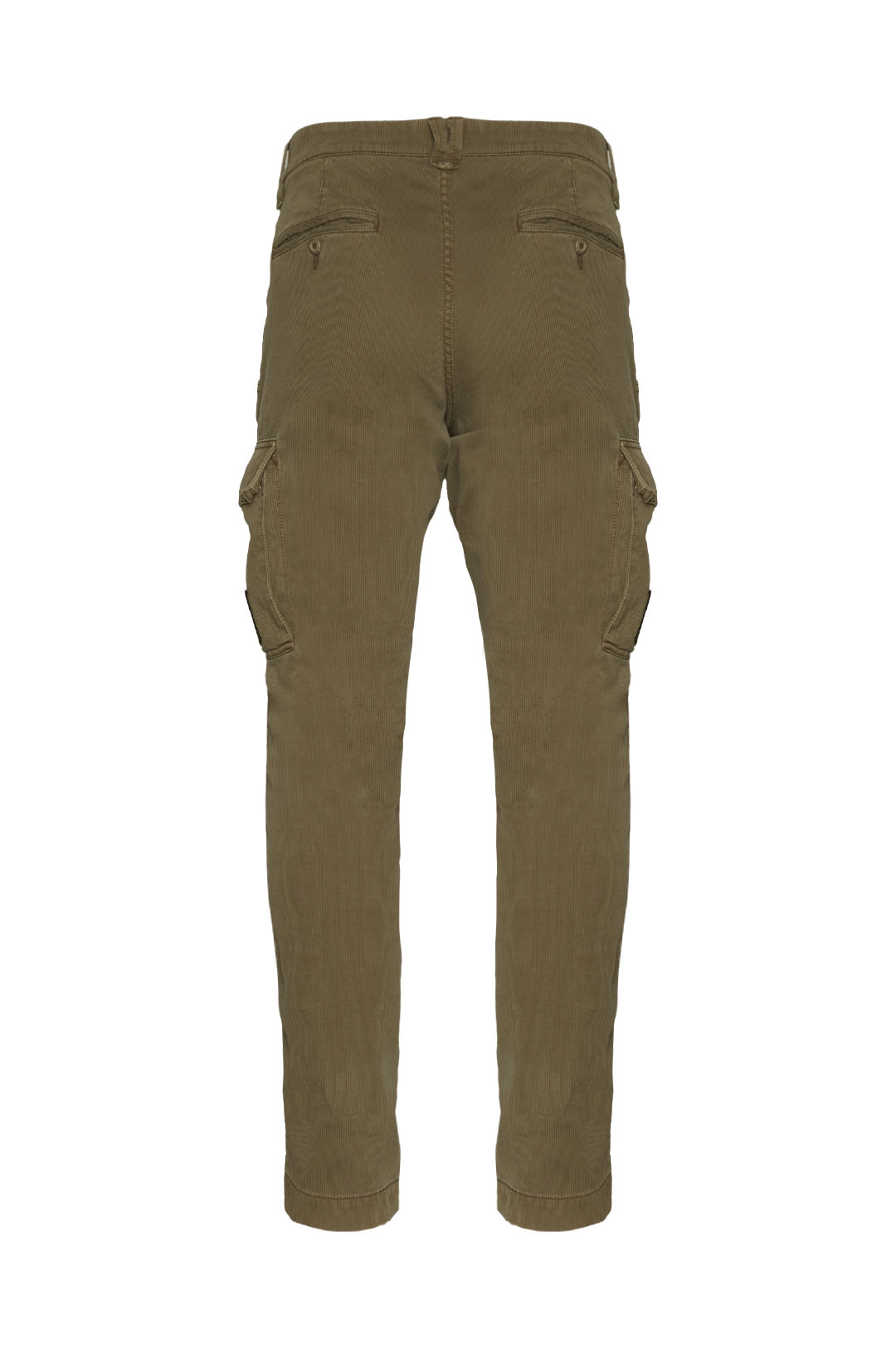 Multi-pockets striped fabric trousers    2