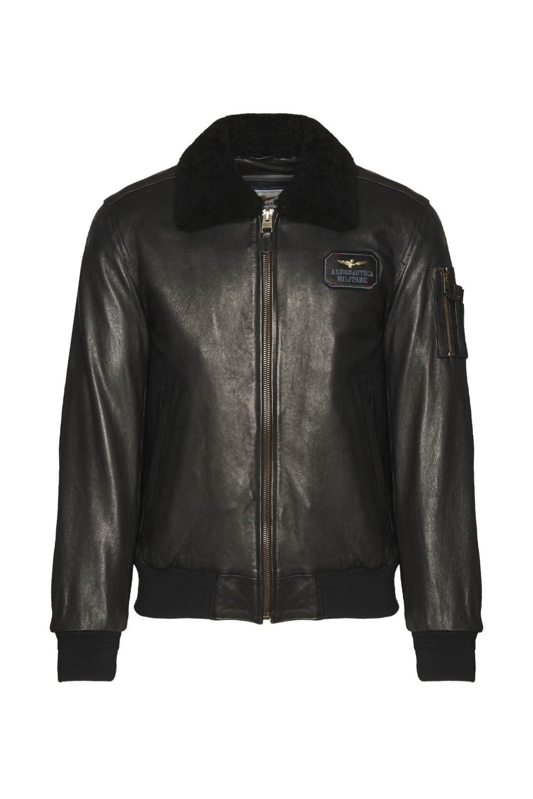 Leather bomber with sheepskin collar     1