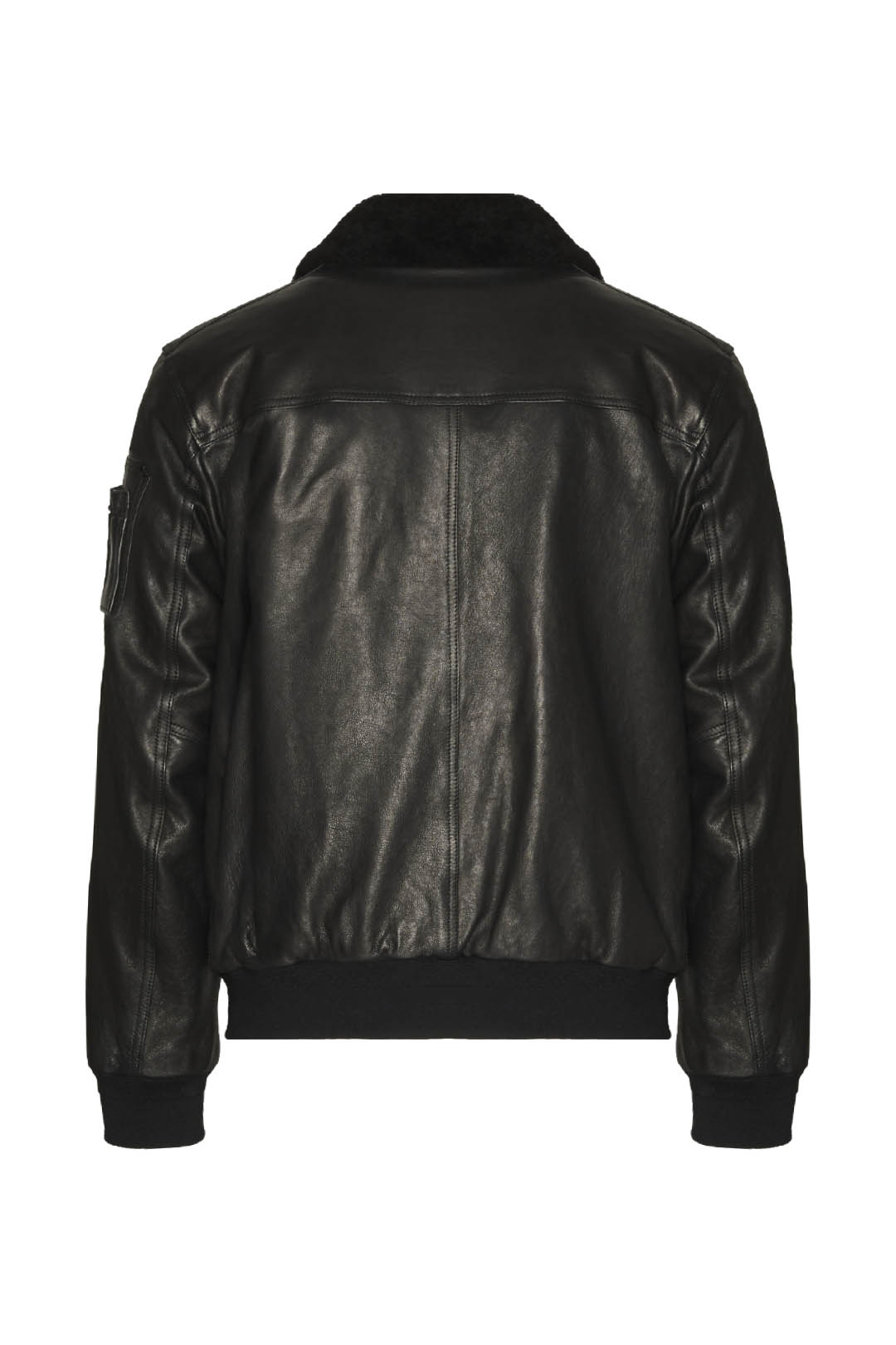 Leather bomber with sheepskin collar     2
