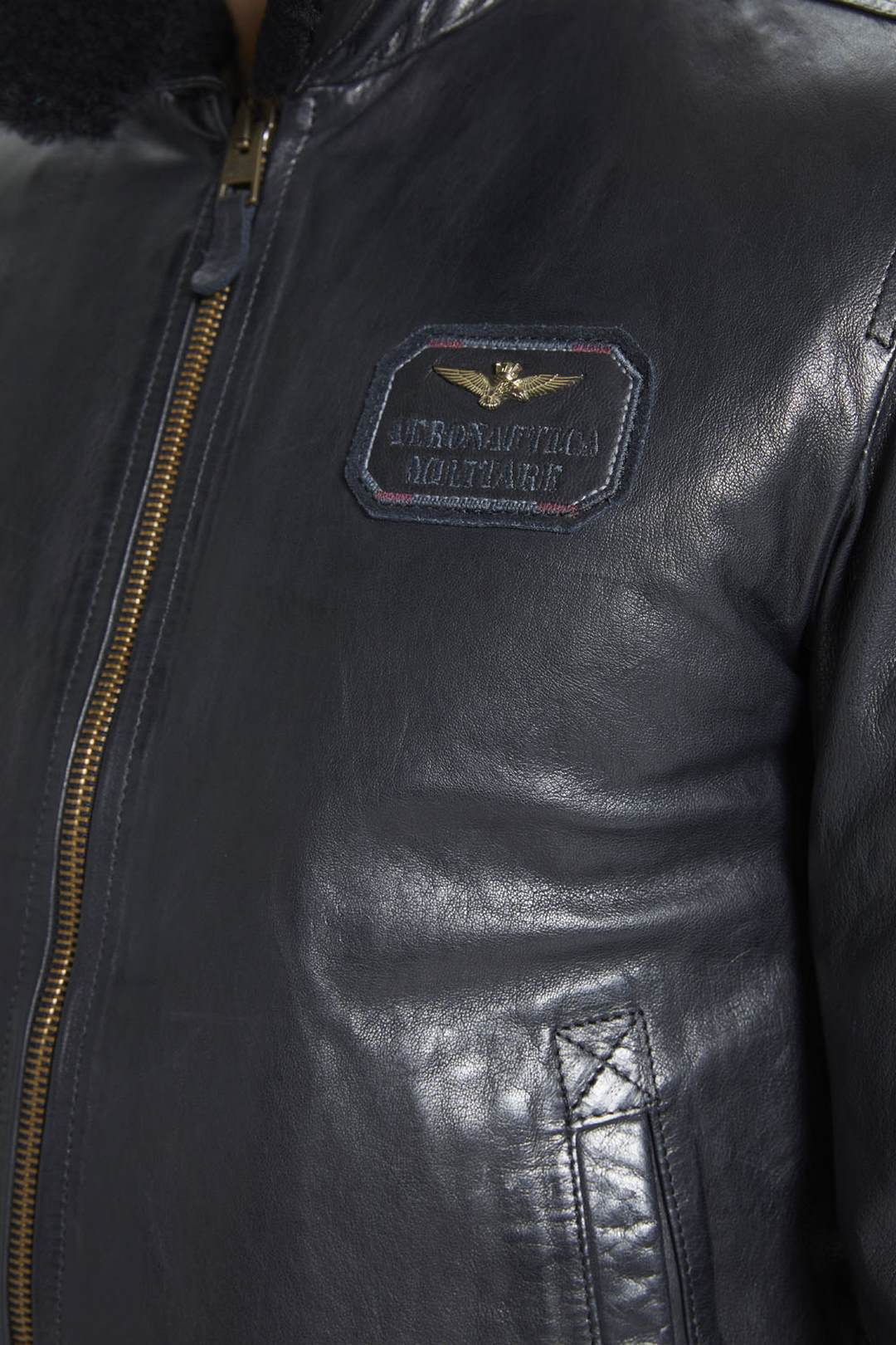Leather bomber with sheepskin collar     6