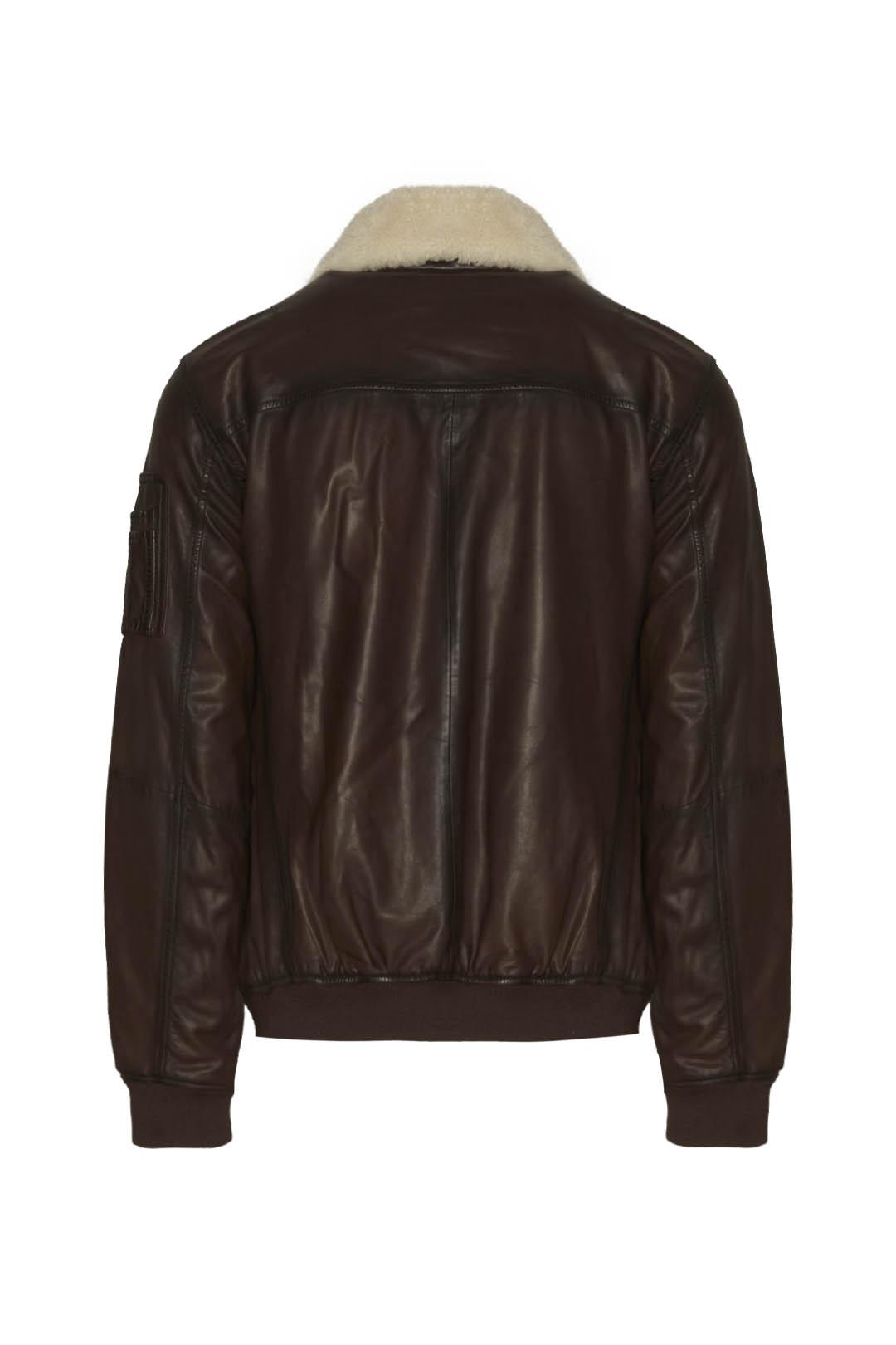 Aviator style leather jacket             2