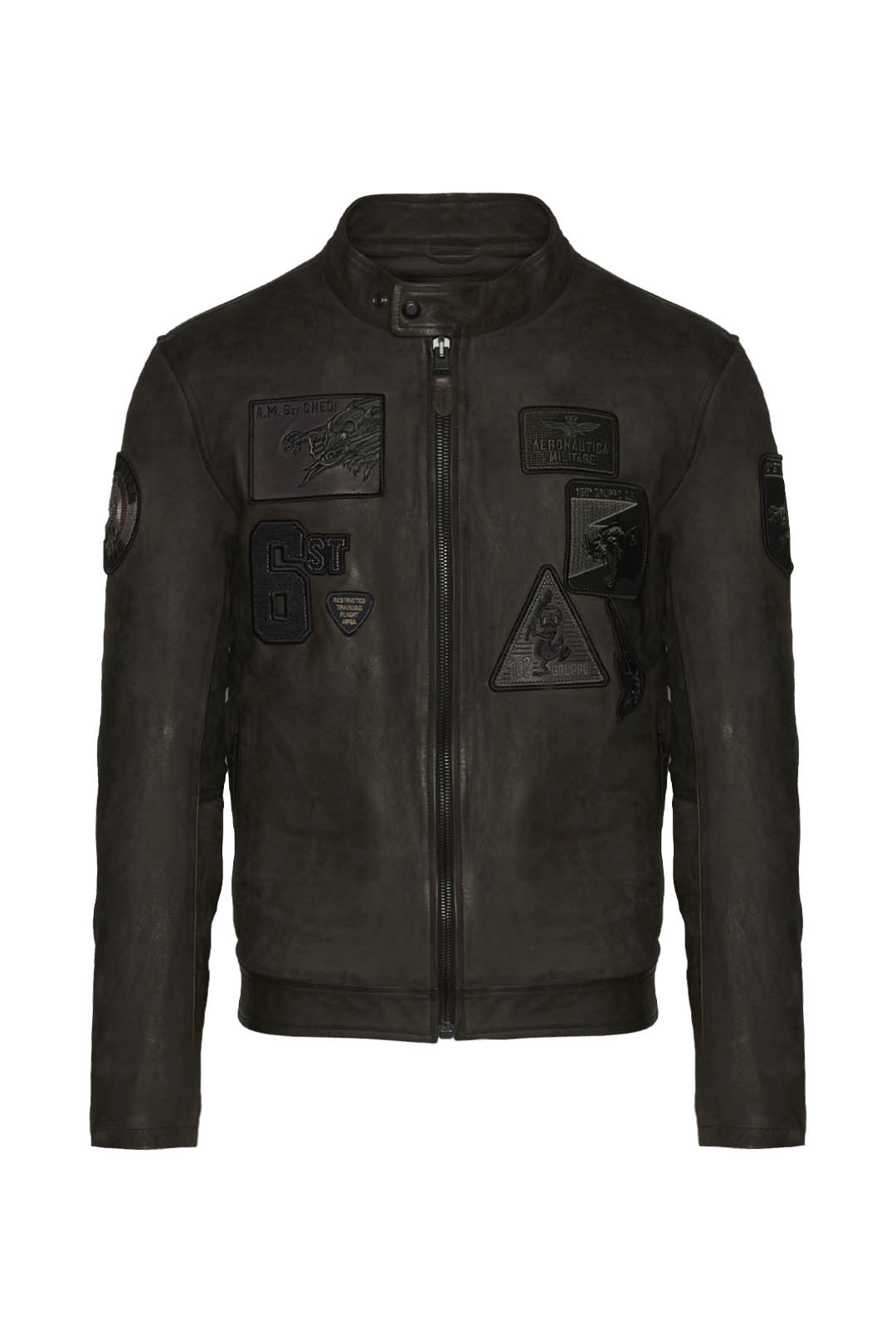 Leather jacket with 6 Stormo patches     1